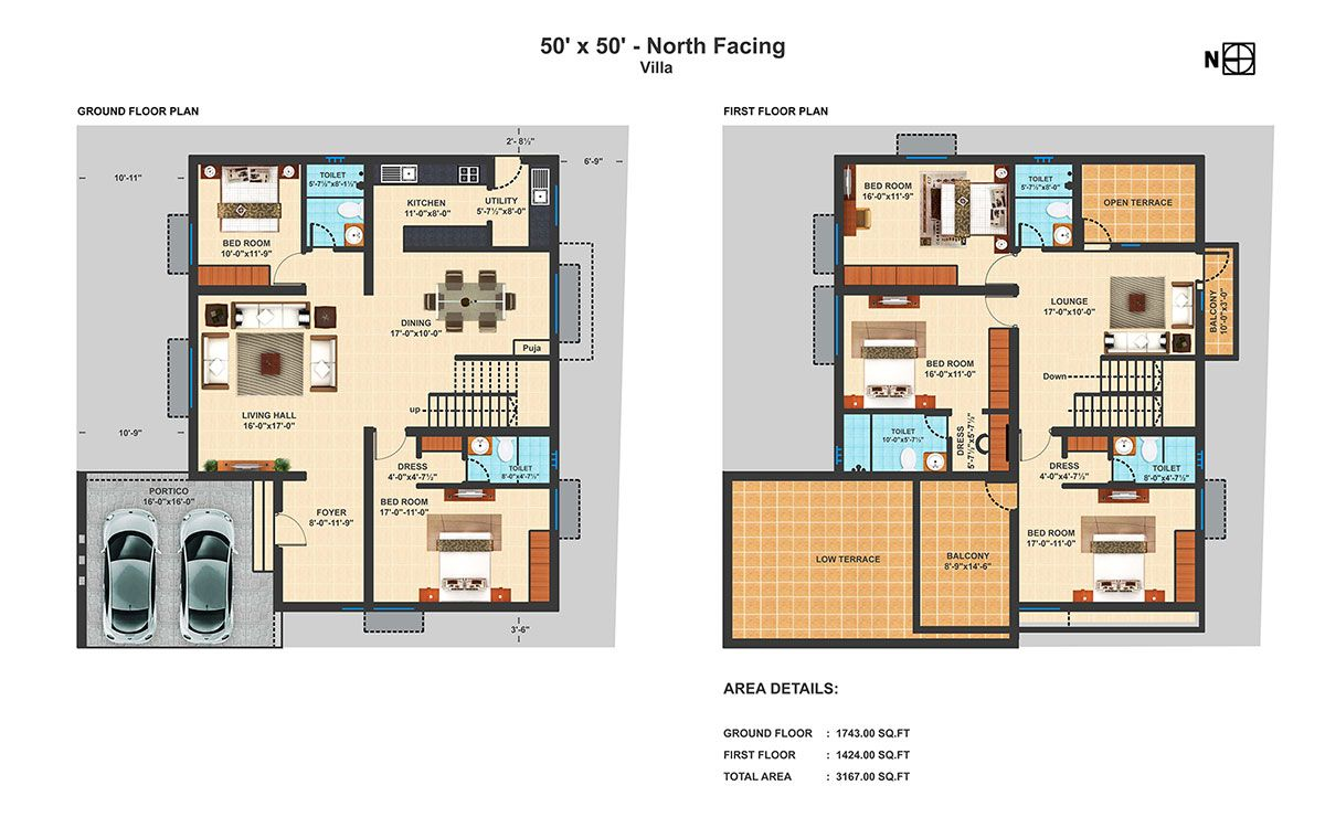 50x50 nf 4 bhk duplex villa projects to try Indian villa floor plans