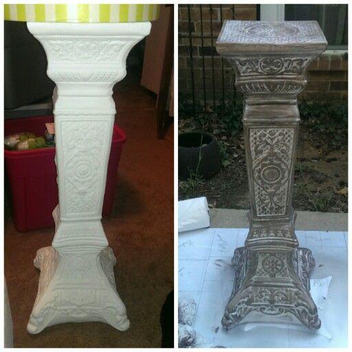 $18 Table. Plaster Pillar Bought From Hobby Lobby, Spray