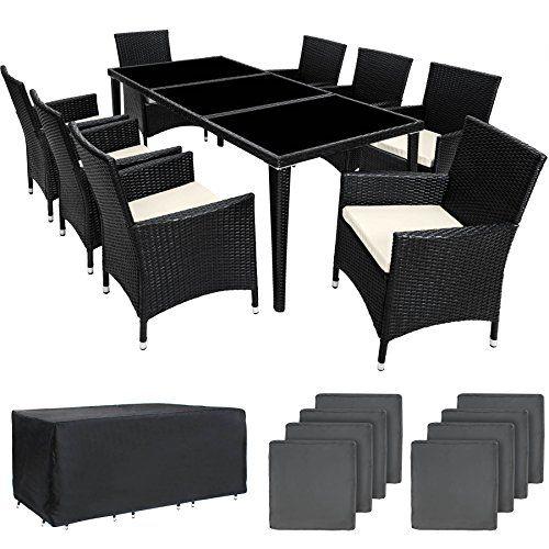 TecTake Salon de jardin en aluminium résine tressée poly rotin table ...