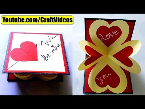 How To Make Pop Up Card I Love You Valentines Day Card Valentines Day Pop Up Card Youtube