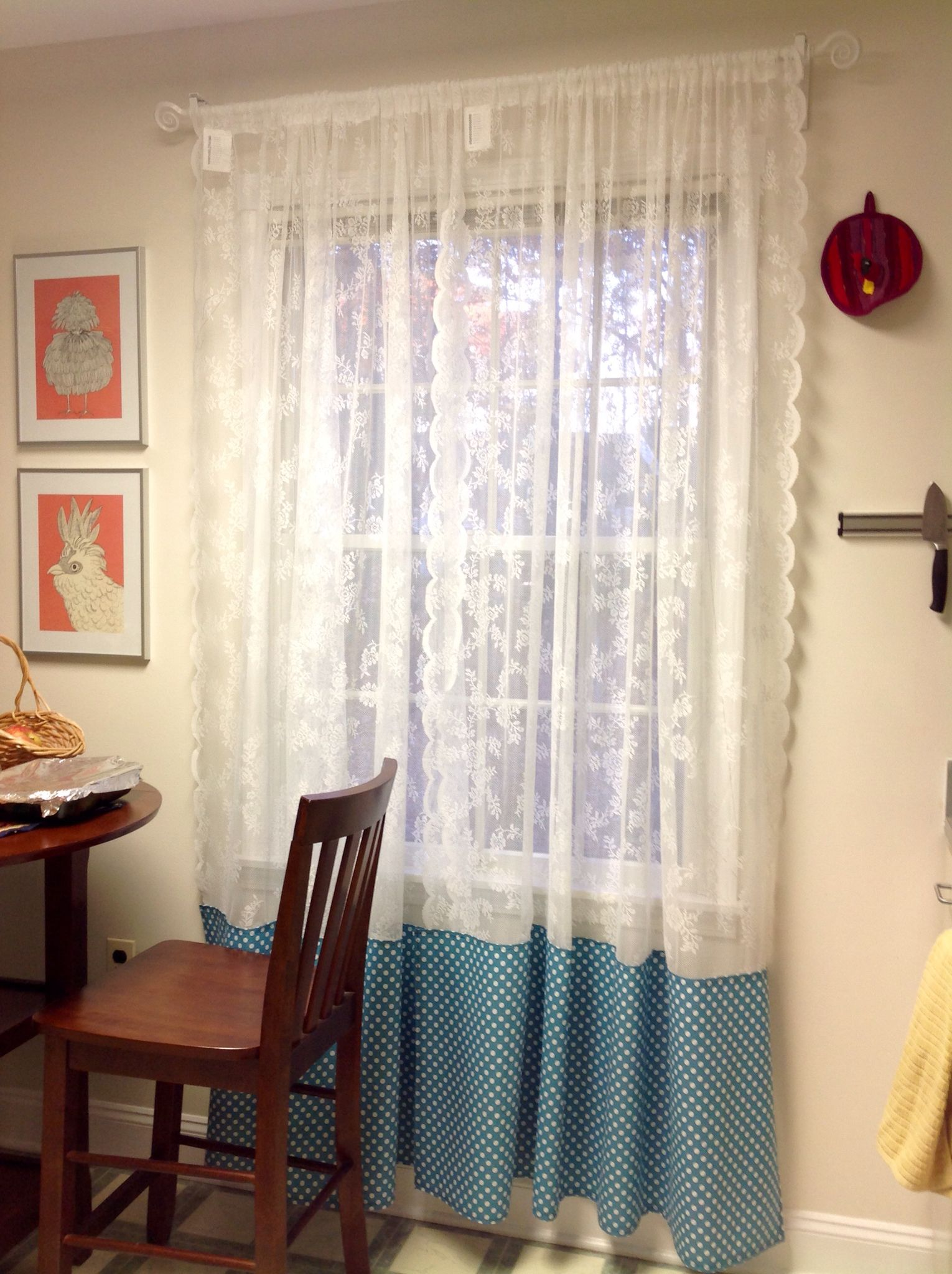 IKEA Hack DIY added cotton polka dot fabric to Ikea ALVINE SPETS Curtains They