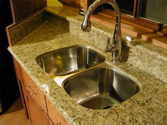 Proper Way To Undermount Sink For Ceramic Tile Ceramic Tile Advice Forums Tile Countertops Gold Granite Countertops Natural Stone Countertops