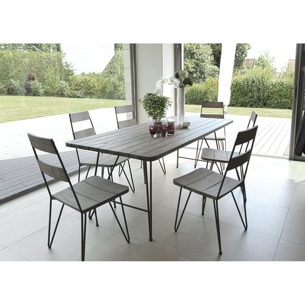 Salon de Jardin Table Teck 200x90cm + 6 chaises DETROIT ref ...