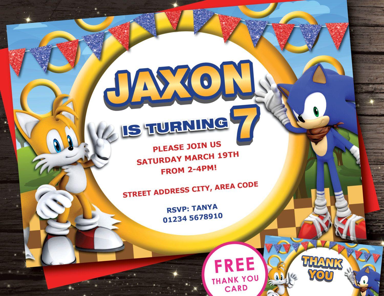Sonic Birthday Invitations En 2019 Fiestas De Cumpleaños