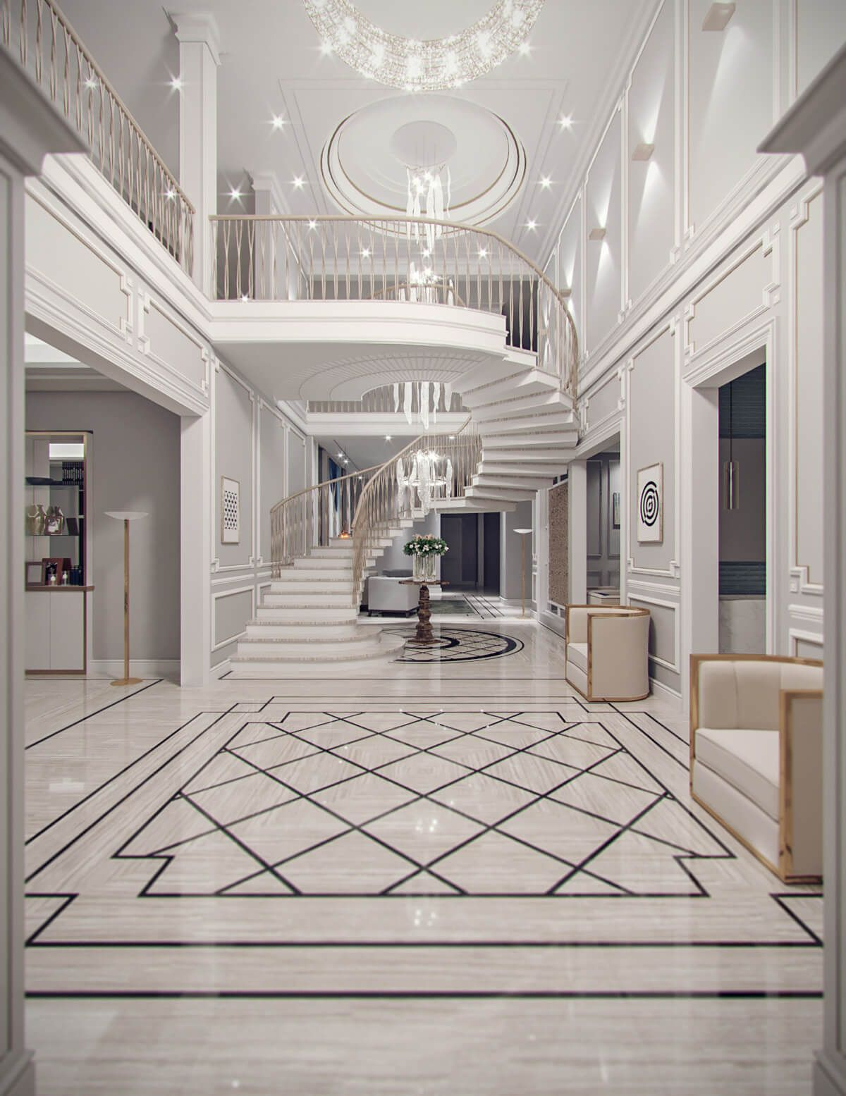 Contemporary Classic Villa Design Jeddah Saudi Arabia Cas Mansion Interior Villa Design Staircase Design