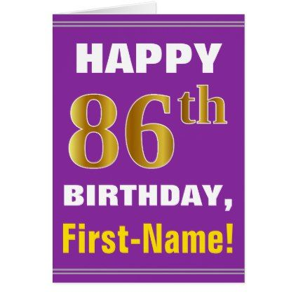 Bold purple faux gold 86th birthday w name card bold purple faux gold 86th birthday w name card birthday cards invitations party diy bookmarktalkfo Images