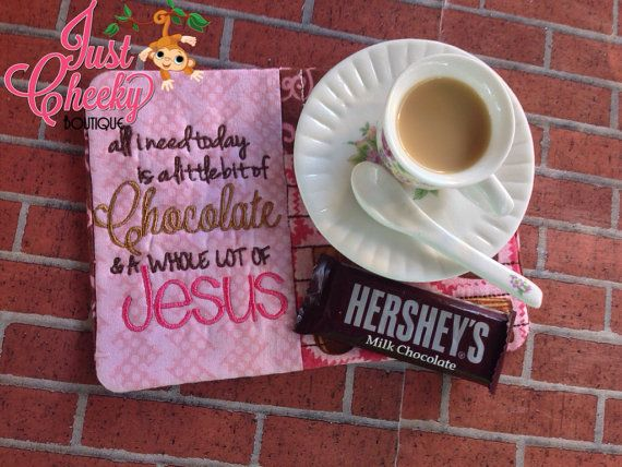 Jesus and Chocolate Quilted Mug Rug by JustCheekyBoutiqueTX