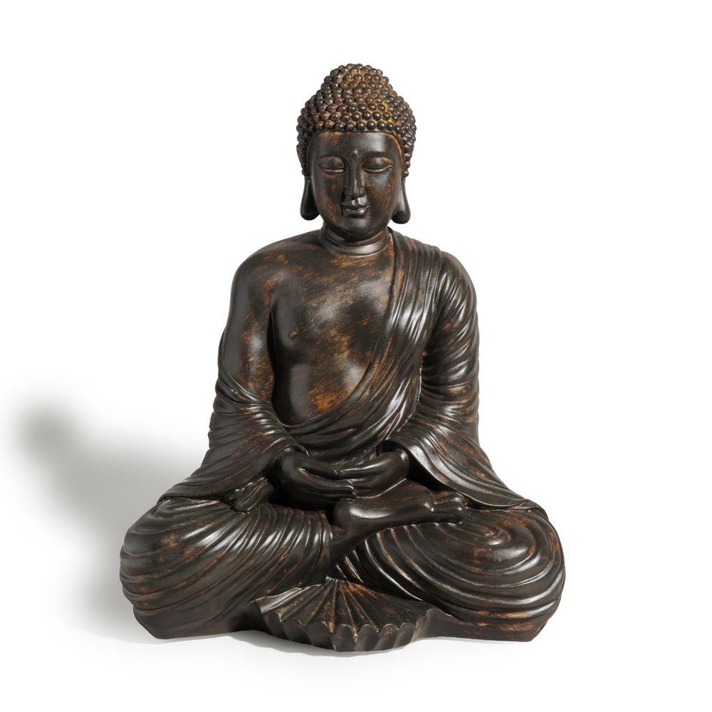 Statue Bouddha Assis En Resine Marron H 42 Cm Maisons Du Monde Statue Bouddha Bouddha Statue