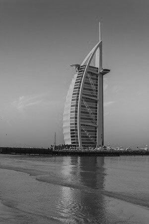 Dubai splendour cityscape of burj al arab hotel dubai uae black white photography