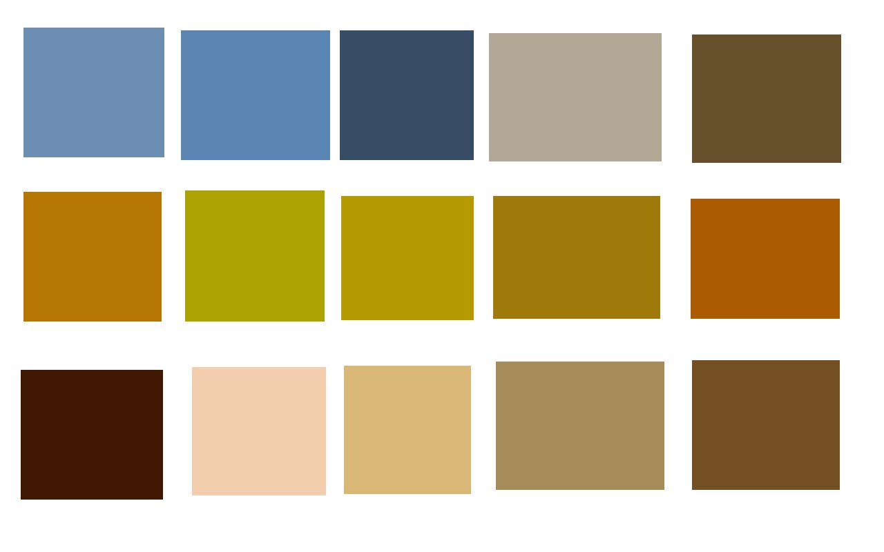 Earth Colors Paint color swatches from adobe kuler: earth natural (top), earth tones