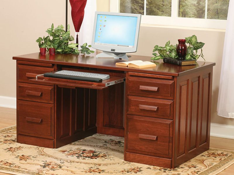 Amish Flat Top Computer Desk With Raised Panel Back