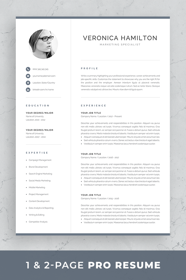 Professional Cv Template With Photo Modern Photo Resume Etsy Resume Template Professional Modern Cv Template Resume Template