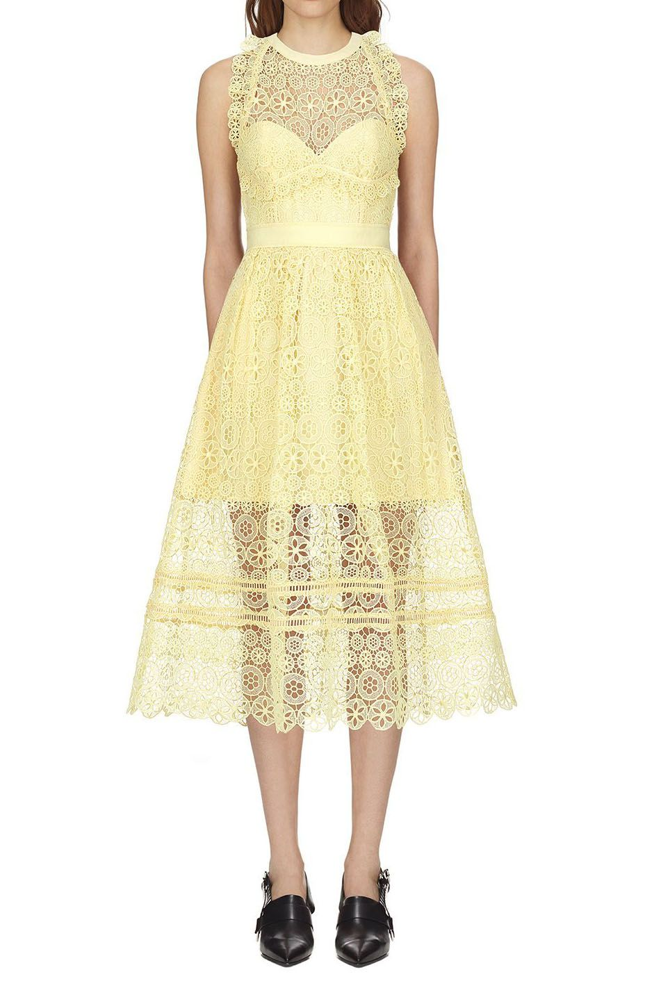 018757007532 Self Portrait Yellow Circle Floral Lace Midi Dress | Clothes | Lace ...
