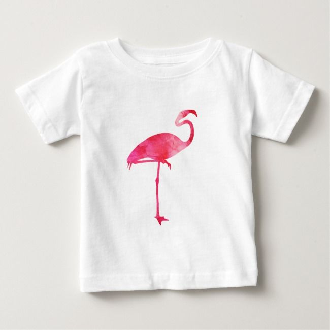 Pink Flamingo Watercolor Silhouette Florida Birds Baby T Shirt