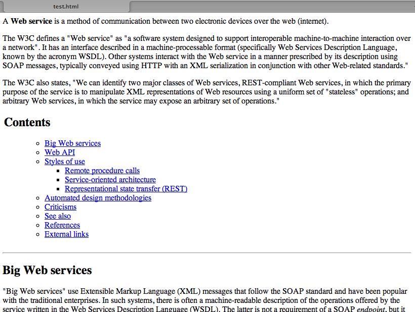Wikipedia Html Api