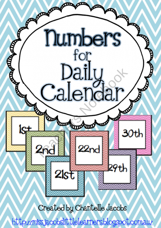 Calendar Organization Number : Numbers for daily calendar product from ms jacobs little