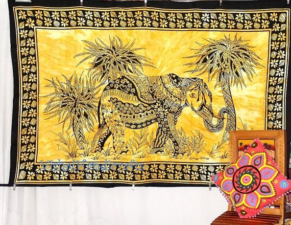 Beautiful Elephant tapestry Indian bed spread by VishalHandicrafts