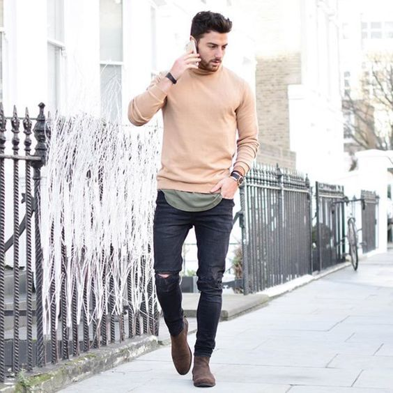 Men S Beige Crew Neck Sweater Olive Tank Black Ripped Skinny Jeans Brown Suede Chelsea Boots Mens Outfits Casual Street Style Black Ripped Skinny Jeans