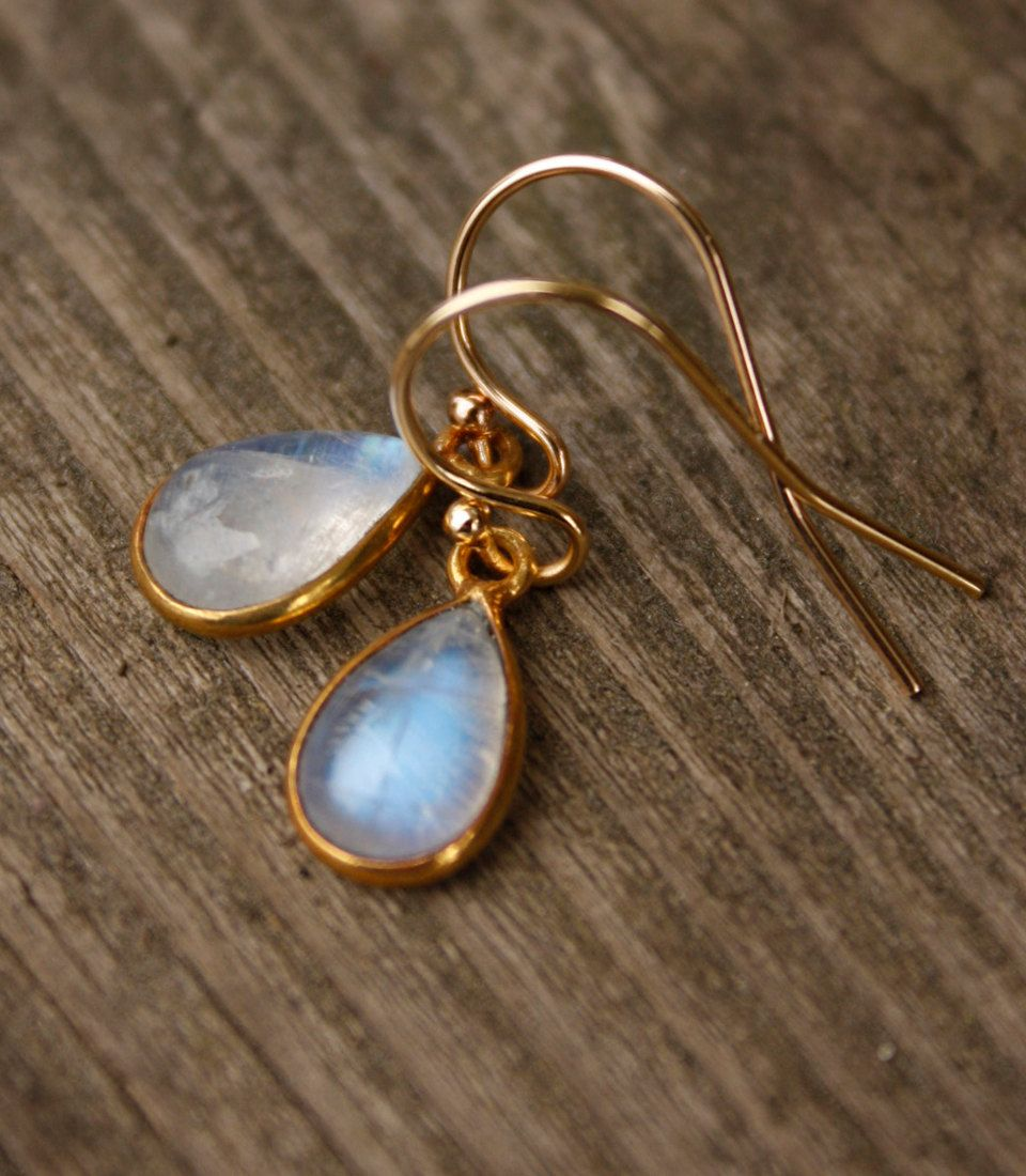 Rainbow Moonstone Earrings - Teardrop Earrings - Petite, Dreamy Moonstone. $43.00, via Etsy.