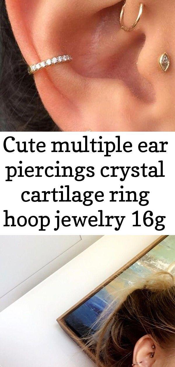 Nette mehrfache Ohrpiercingskristallknorpelring-Bandschmucksachen 16g #silverrings  #bandschmucksachen #mehrfache #nette #ohrpiercingskristallknorpelring #silverrings #earpiercingideas