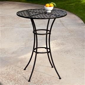 Black Wrought Iron Outdoor Bistro Patio Table with ... on Belham Living Wrought Iron Bar Height Bistro Set By Woodard id=35935