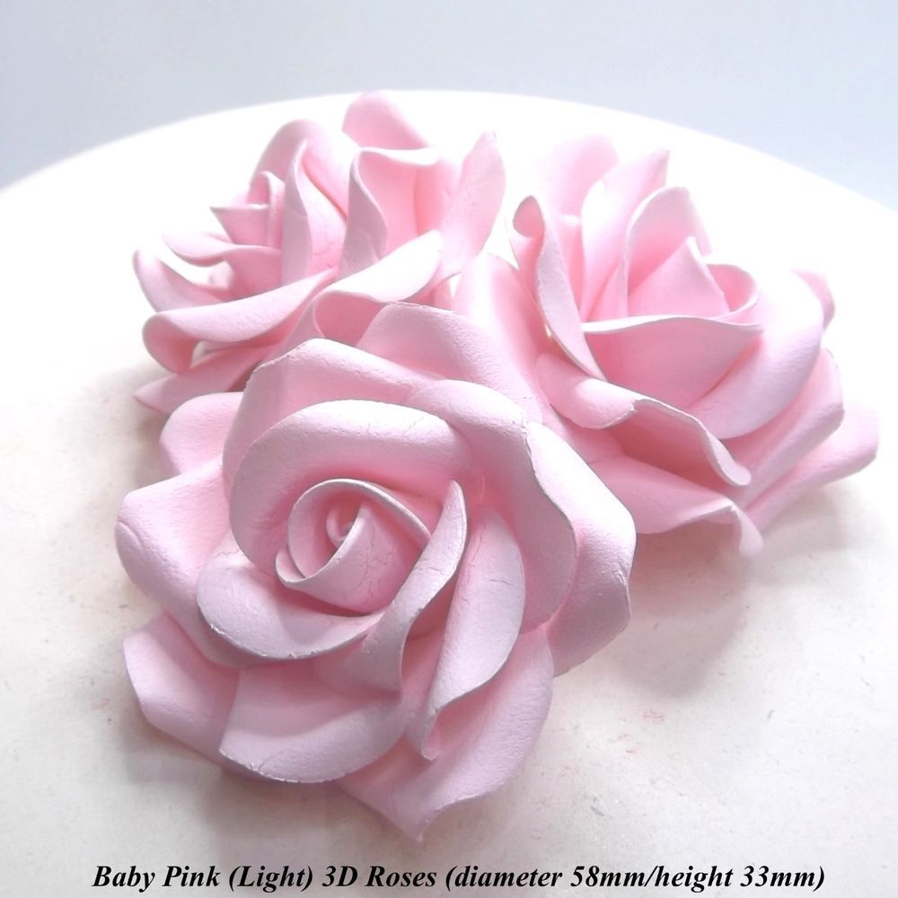 Large Baby Pink 3D Sugar Roses wedding cake christening decoration ...