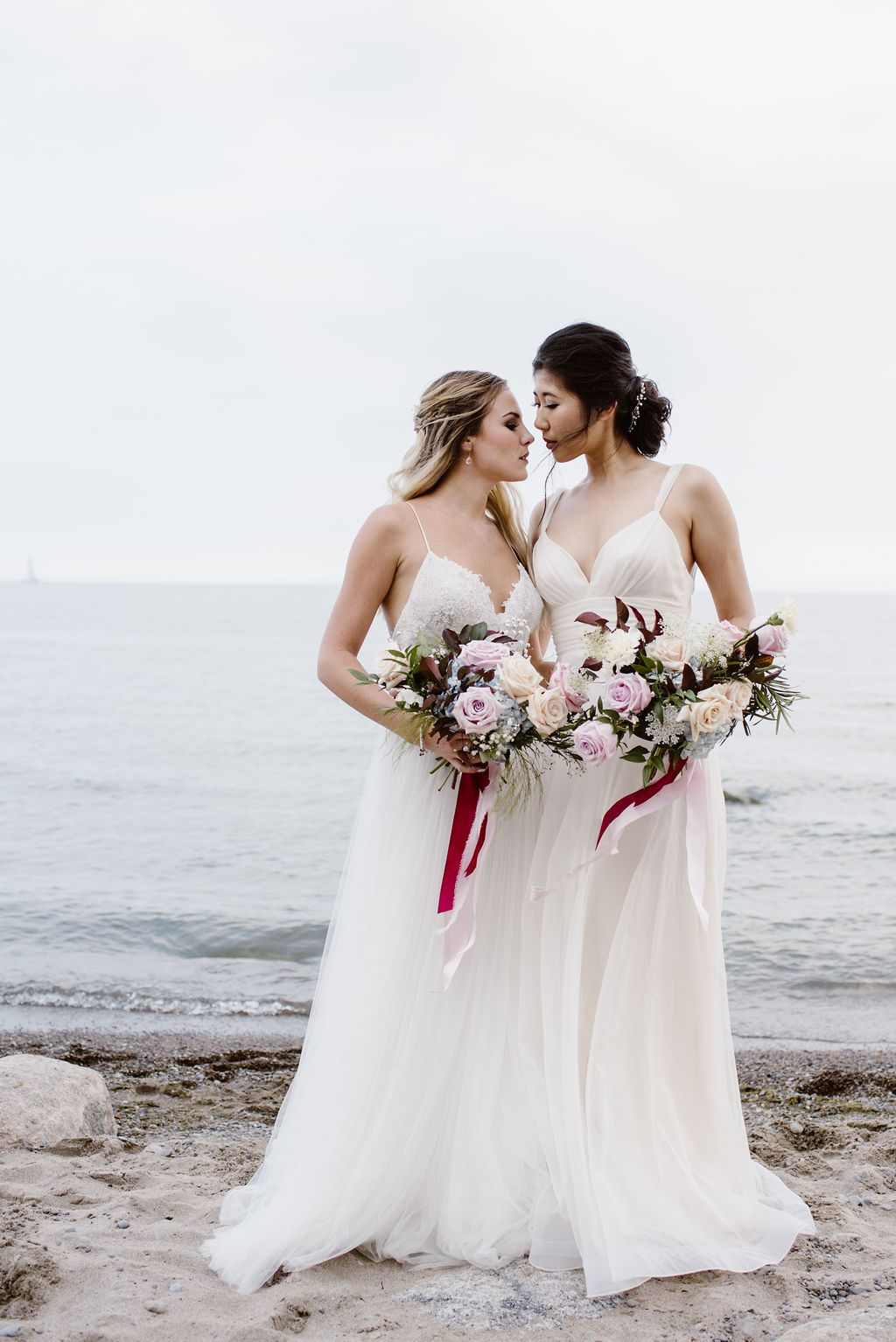 Romantic Beach Elopement Editorial For All Couples Lesbian Beach
