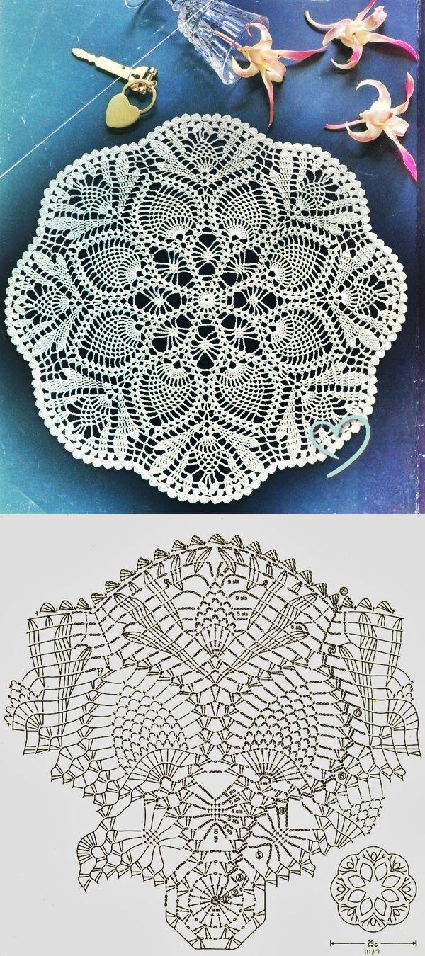 Pineapple Lace Doily Crochet Pattern | szydełkowe serwetki i ...