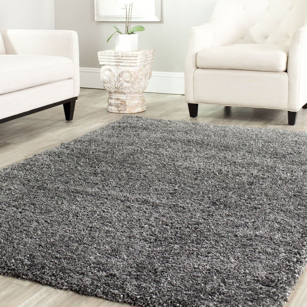 Nice Cozy Casual Soft Shag Area Rug Solid Dark Grey Mat Carpet Sale Modern Rugs  Jute