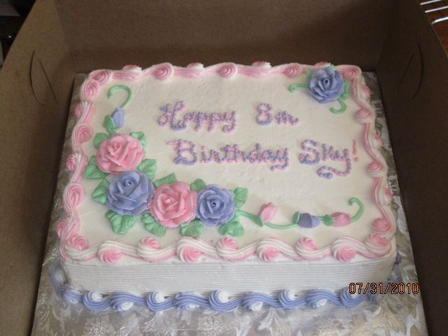 Pastel Rose Qtr Sheet Cake With Images Birthday Sheet Cakes