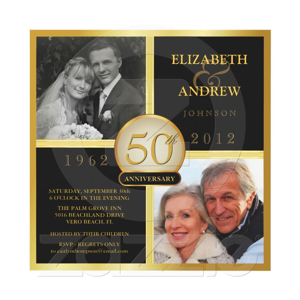 50th Wedding Anniversary Invitation Ideas: Elegant 50th Wedding Anniversary Photo Invitations