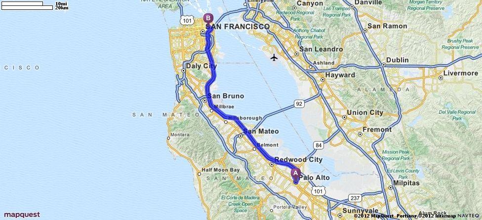 Driving Directions From Palo Alto California To 50 3rd St San Francisco California 94103 Mapquest San San Leandro Palo Alto