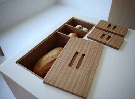 Install in-counter storage for your fruits, bread, and vegetables. | 33 Insanely Clever Upgrades To Make To Your Home