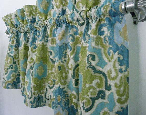 Modern Green Blue Damask Valance For Kitchen Living Or Office Seagrass Curtain Window Treatment Turquoise Curtains Kitchen Window Treatments Modern Valances