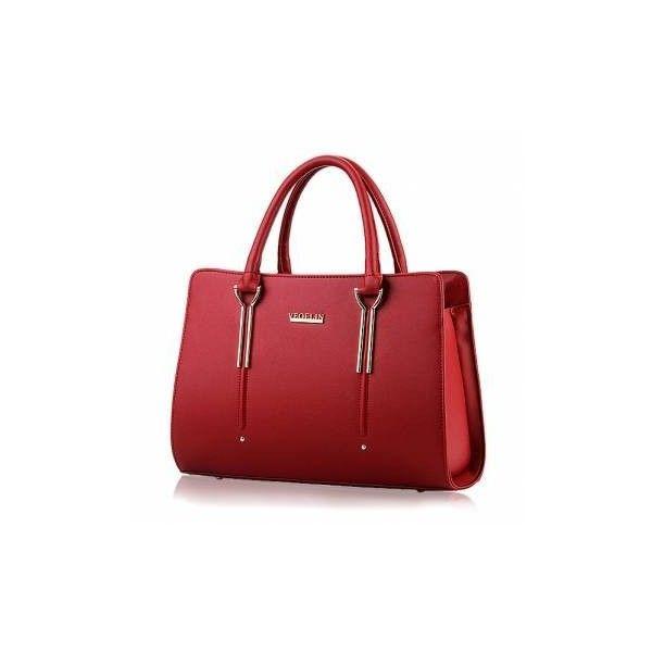 Women Casual Sweet Handbag Leisure Shoulder Bag (36 AUD) ❤ liked on Polyvore featuring bags, handbags, shoulder bags, newchic, wine red, zipper handbag, red handbags, purse shoulder bag, shoulder hand bags and red shoulder bag