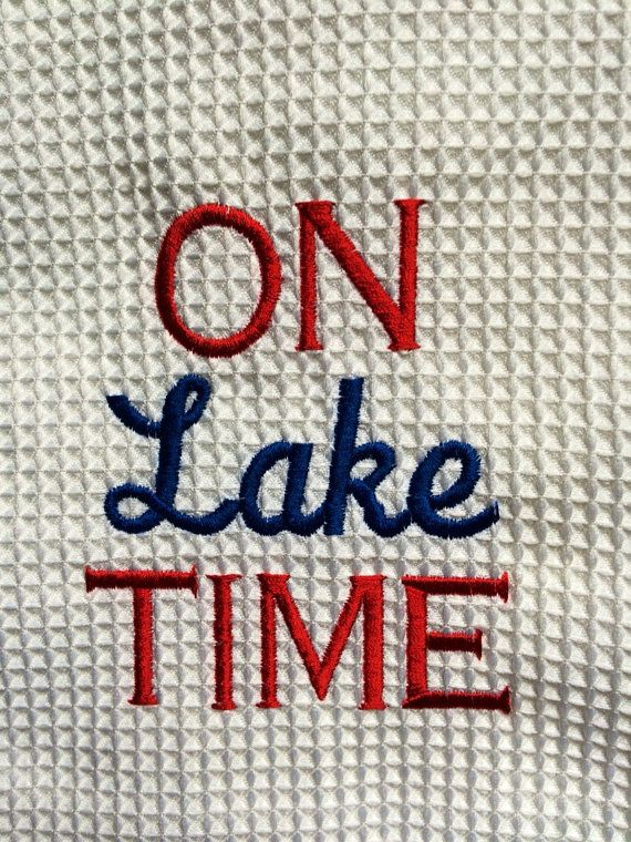 Memorial Day/July 4TH Kitchen Towel ON Lake TIME by CuddlyCabin