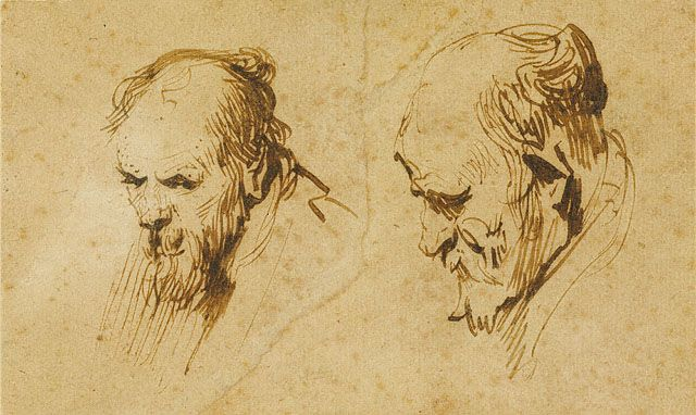 Two Studies of the Head of an Old Man, Rembrandt vanRijn. The economy of line and simplicity are amazing.