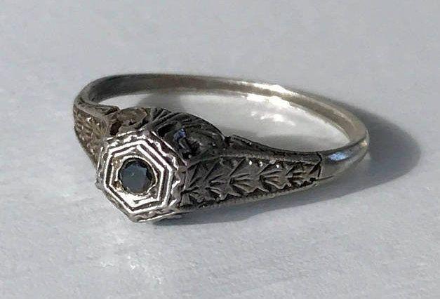 Edwardian Black Diamond Sterling Silver Engraved Filigree Ring Size 5.75 by AdornedInHistory on Etsy