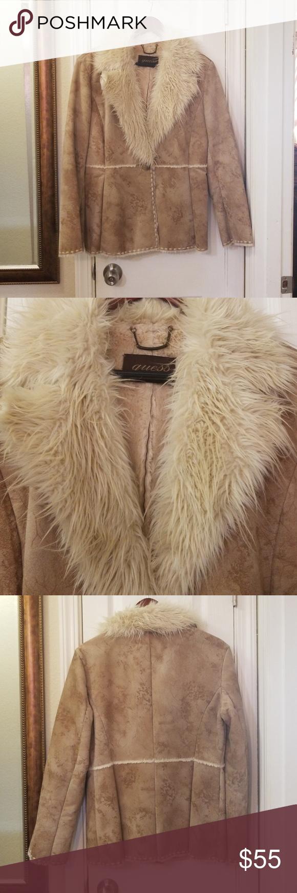 Guess genuine leather, fur coat Genuine leather Fur collar