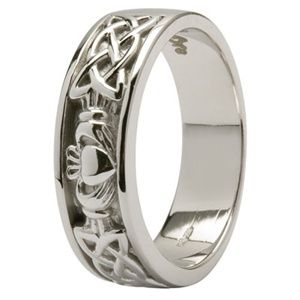 Mens Claddagh Wedding Ring More Expensive 1680 But Well Worth It 14k White Gold