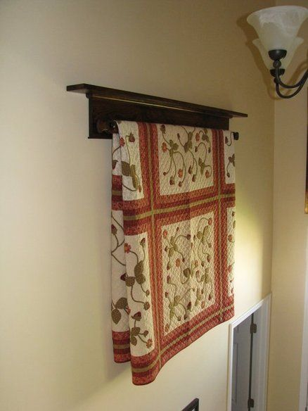 Wall Hanging Quilt Rack And Shelf Have One For Our Living Room