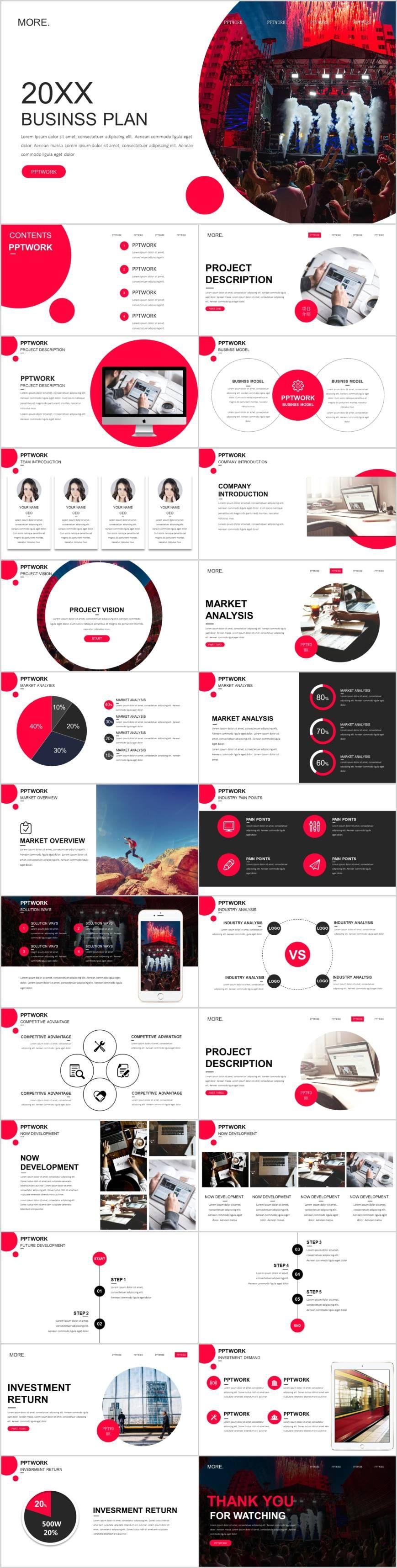 Red website plan PowerPoint template--Pcslide.com- #Presentation #PowerPoint #design #art #infographic #chart #report #business #templates