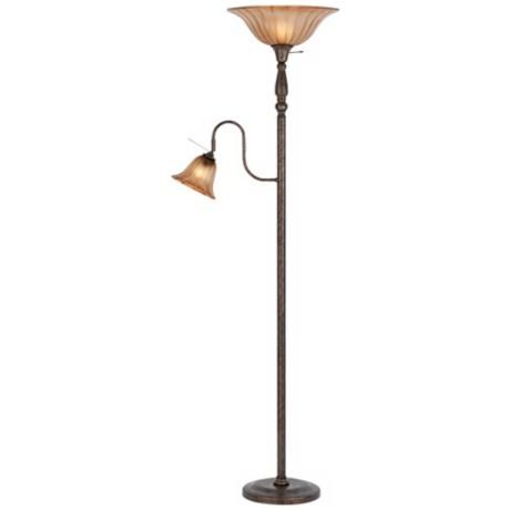 Rust Finish Torchiere With Reading Light P9590 Lamps Plus Reading Light Lamps Plus Floor Table Lamps