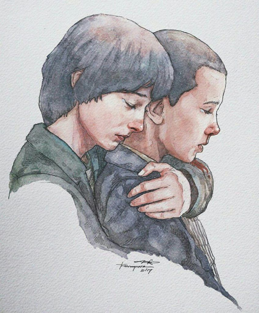 Stranger Things Fan Art of Mike and El by Trishna Gaara #strangerthings