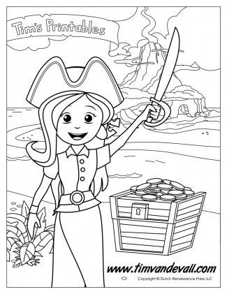 Pirate Girl Coloring Page | Coloring Pages | Pinterest