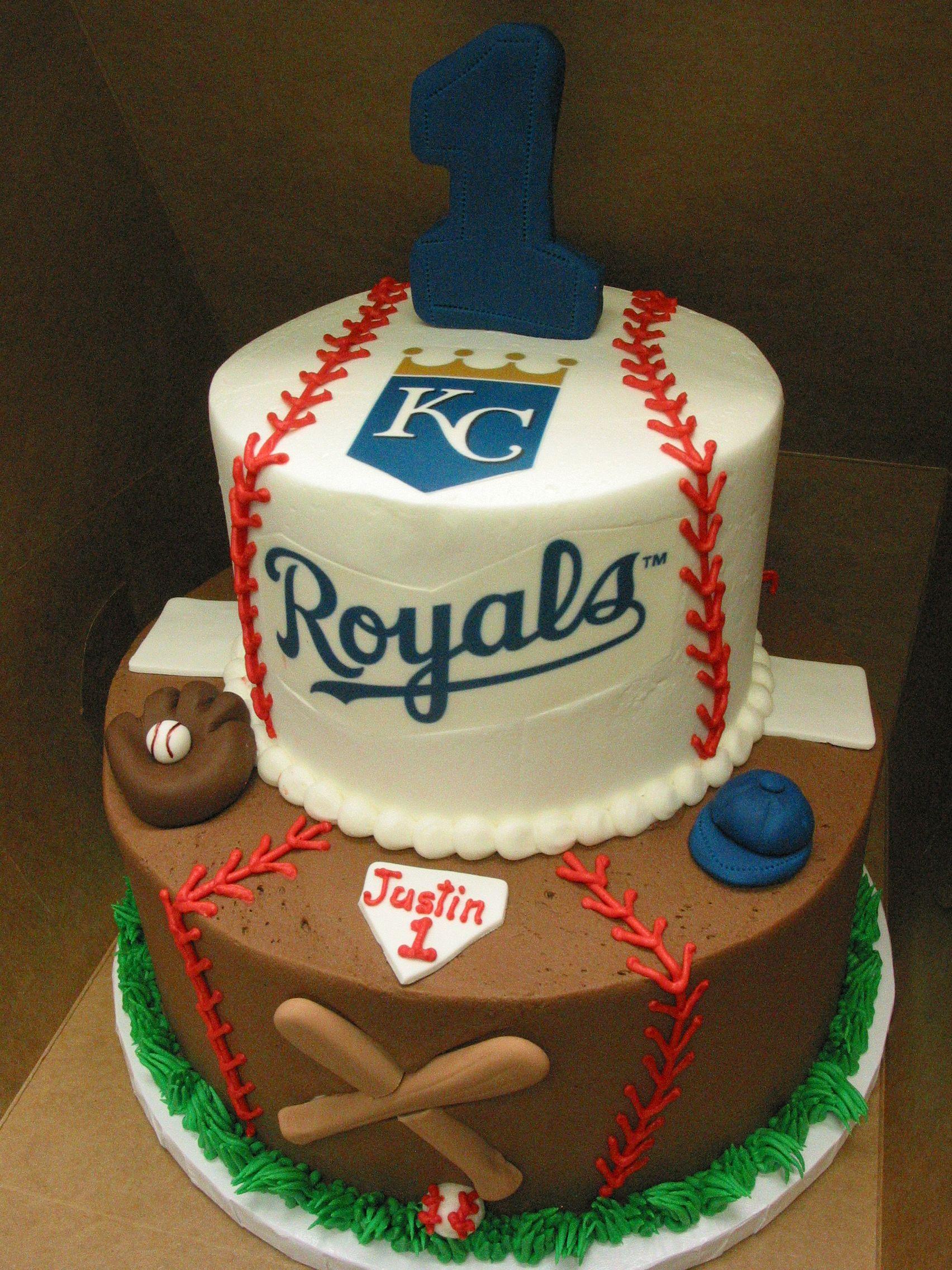 Cake Groom Sports Baseball Kansas City Royals Glove Bat Birthday