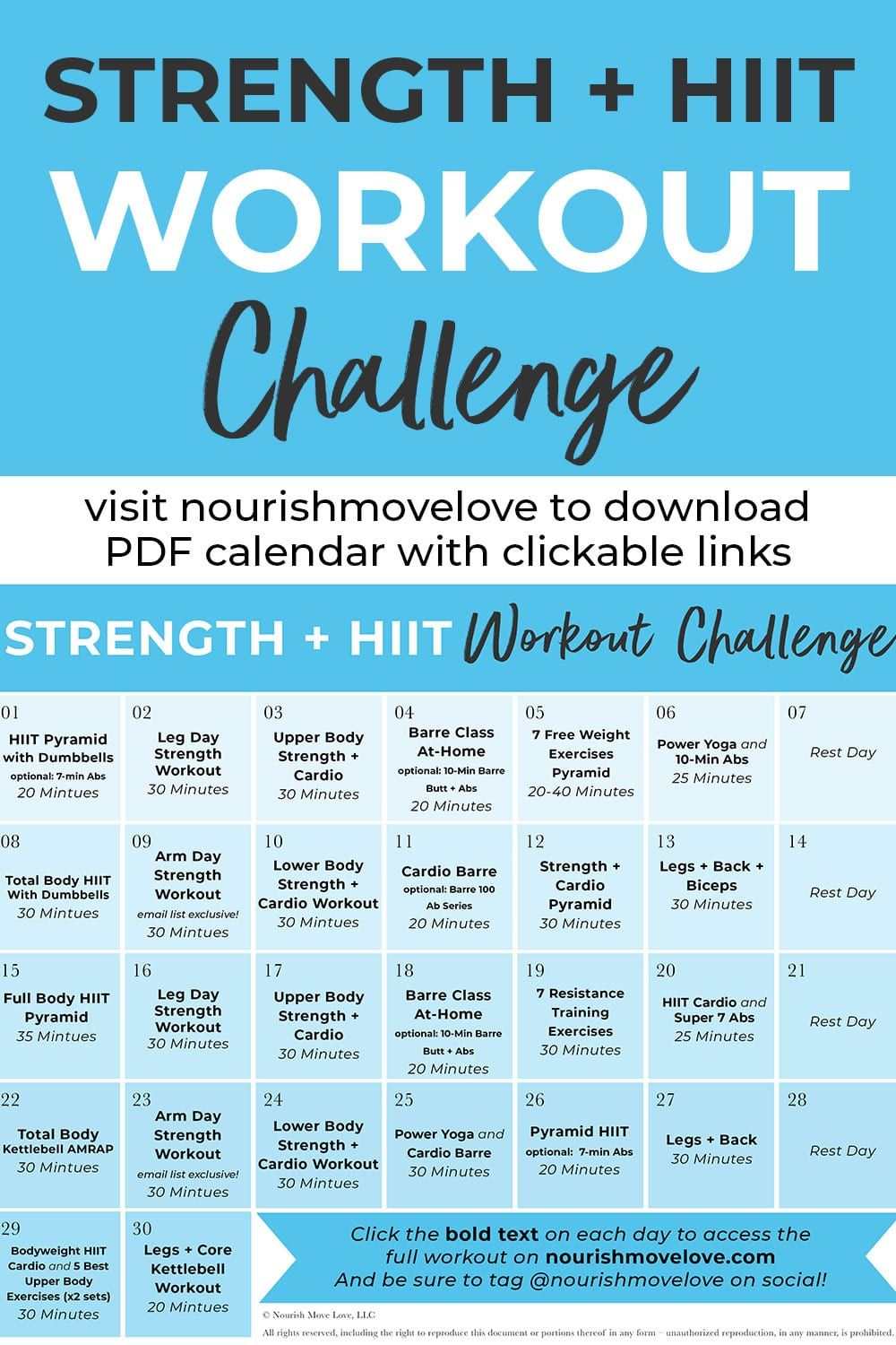 30Day Advanced Strength + HIIT Workout Plan Hiit