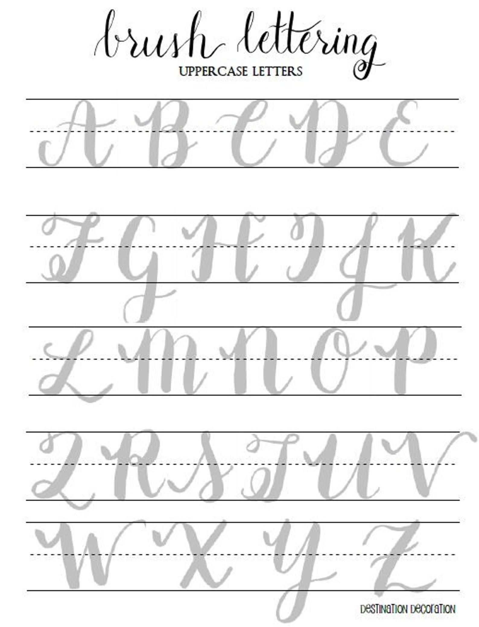 Brush Lettering Practice Worksheets Uppercase Letters Etsy