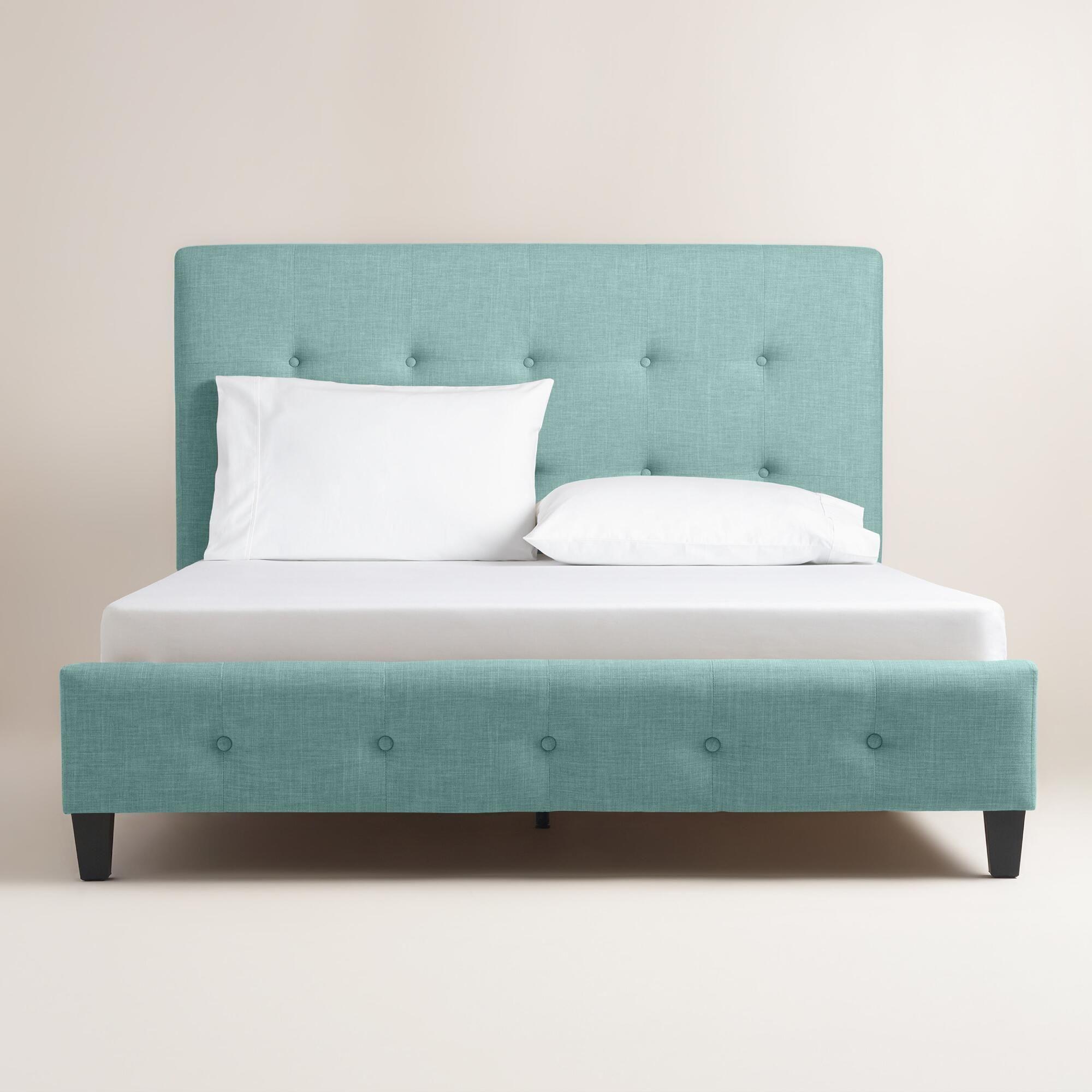 Cornflower Blue Linen Greir Upholstered Bed | World Market | Bedroom ...