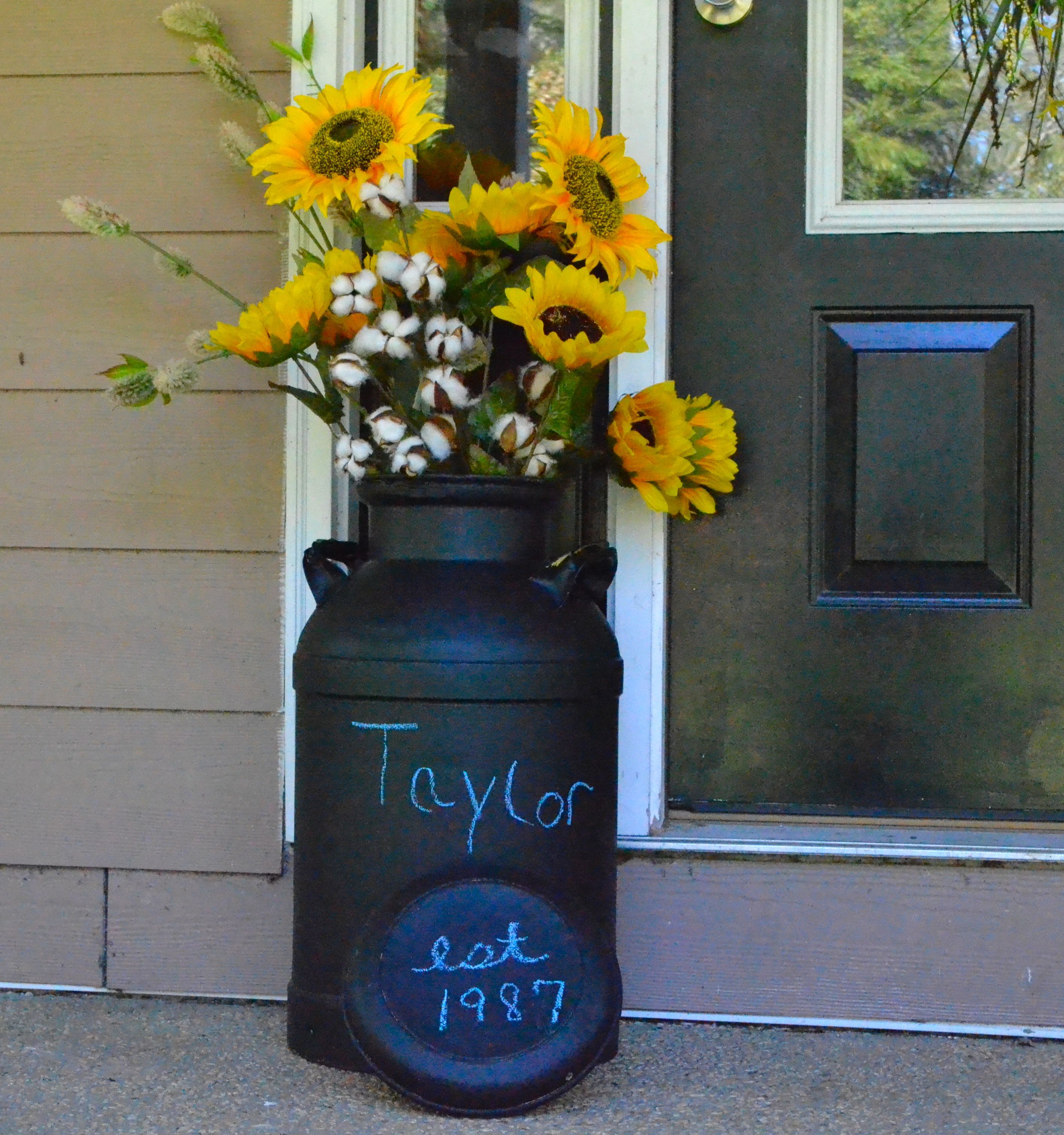 Ive Seen Some Really Inexpensive Milk Cans Floating Around And This Is A Great Idea Im Always Looking For Items With He Milk Can Decor Milk Cans Old Milk Cans